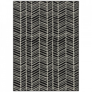 Covor negru din polipropilena Line Pattern The Home (diverse dimensiuni)