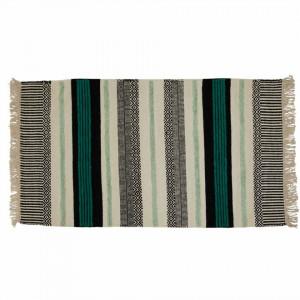 Covor turcoaz/negru din lana si viscoza 140x170 cm Yamu Black Turquoise Zago
