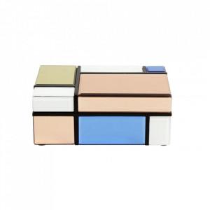 Cutie cu capac multicolora din sticla si MDF pentru bijuterii Miro Mini Nordal