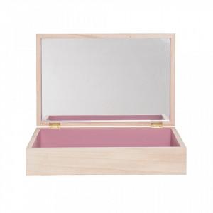 Cutie cu capac si oglinda maro din lemn de paulownia Samona Bloomingville Mini