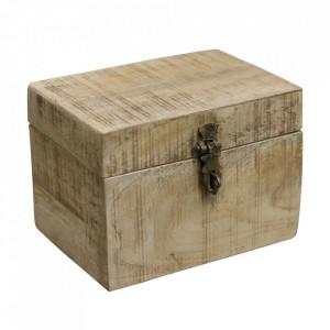 Cutie maro din lemn de mango Vintage Small Raw Materials
