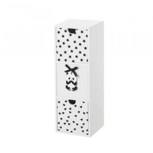 Cutie neagra/alba cu 3 sertare din MDF Panda Unimasa