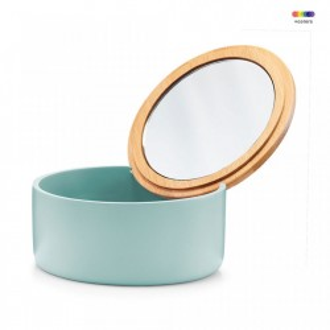 Cutie verde/maro din polirasina si sticla 6,5x13,3 cm pentru bijuterii Jewelery Mirror Mint Zeller