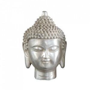 Decoratiune argintie din alama 15 cm Buddha Head Versmissen