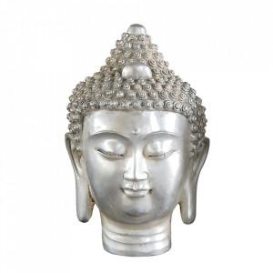 Decoratiune argintie din alama 21 cm Buddha Head Versmissen