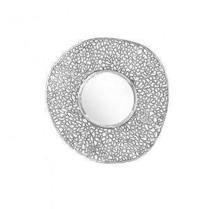 Decoratiune cu oglinda argintie din aluminiu pentru perete 76 cm Leaf Invicta Interior