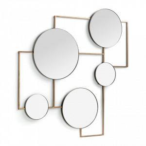 Decoratiune cu oglinda maro alama din metal pentru perete 81x83 cm Platte Kave Home