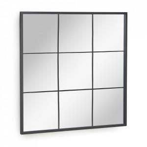 Decoratiune cu oglinda maro MDF si otel 80x80 cm Ulrica Kave Home