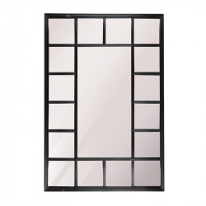 Decoratiune cu oglinda neagra din lemn pentru perete 69x102 cm Fernao Rectangle LifeStyle Home Collection