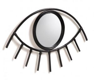 Decoratiune cu oglinda neagra din ratan pentru perete 45x72 cm Maela Black La Forma