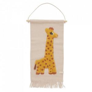 Decoratiune de perete multicolora din lana si bumbac 32x70 cm Giraffe Oyoy