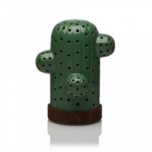 Decoratiune luminoasa LED verde/maro din ceramica si lemn Cactus Dark Versa Home
