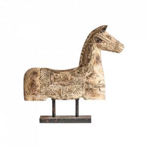 Decoratiune maro din lemn si fier 44 cm Horse Vical Home
