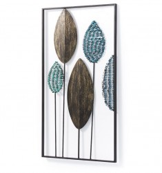Decoratiune multicolora din metal pentru perete 54x104 cm Leaves Kave Home