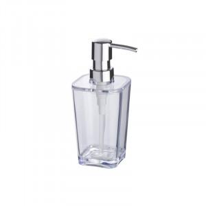 Dispenser transparent/argintiu din polistiren 330 ml Candy Soap Wenko