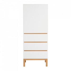 Dulap alb/maro din MDF si lemn 170 cm Indigo Quax