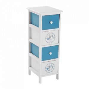 Dulapior alb/albastru din lemn Nautical Versa Home