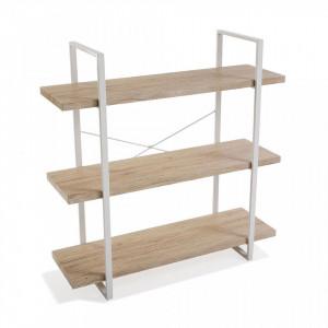 Etajera maro/alba din metal si lemn 104 cm Wooden Shelf Three Versa Home