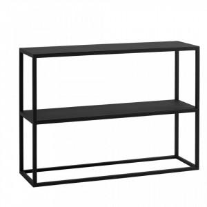 Etajera neagra din metal si lemn 75 cm Julita Metal Custom Form