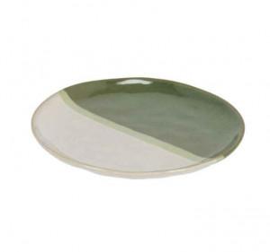 Farfurie alba/verde din ceramica pentru desert 20,7 cm Naara Kave Home