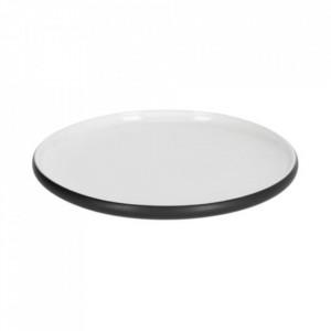 Farfurie pentru desert alba/neagra din ceramica 20 cm Sadashi Kave Home