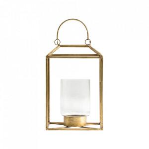 Felinar auriu/transparent din otel si sticla 35 cm Morales Vical Home