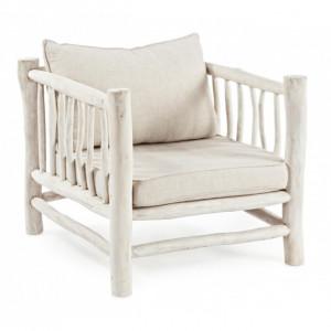 Fotoliu alb din textil si lemn Sahel Bizzotto