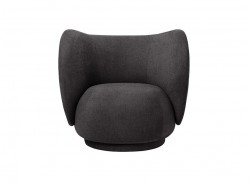 Fotoliu gri inchis din lemn si poliester Rico Lounge Chair Dark Grey Ferm Living