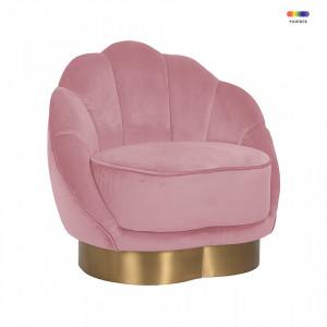 Fotoliu roz din metal si catifea Olivia Pink Richmond Interiors