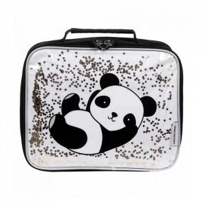 Geanta alba/neagra din poliester Glitter Panda A Little Lovely Company
