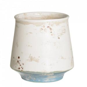 Ghiveci alb/albastru din ceramica 21 cm Kalahari Ixia