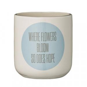 """Ghiveci ceramic pentru flori alb/albastru """"Where..."""" Bloomingville"""