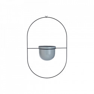 Ghiveci cu suport suspendabil gri/negru din ceramica si otel 58,2 cm Fly Round Bolia