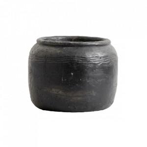 Ghiveci negru din ciment 18 cm Cira Nordal