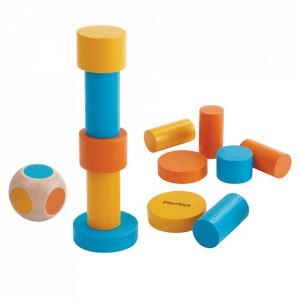 Joc de construit 12 piese multicolor din lemn Stacking Game Plan Toys