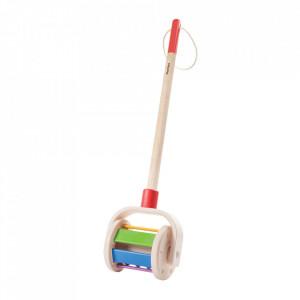 Jucarie de impins multicolora din lemn Walk ans Roll Plan Toys