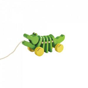 Jucarie de tras multicolora din lemn Dancing Alligator Plan Toys