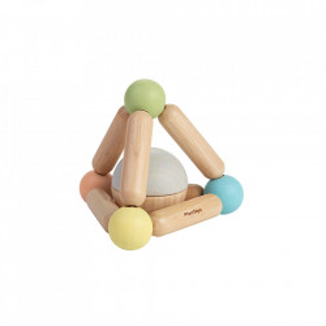 Jucarie multicolora din lemn Pastel Triangle Clutching Plan Toys