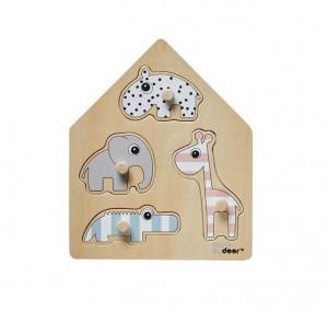 Jucarie tip puzzle multicolora din lemn Wooden Friends Done by Deer