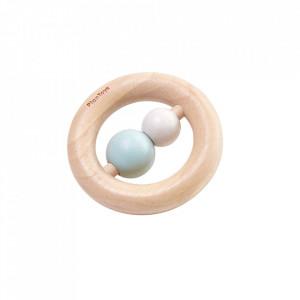 Jucarie zornaitoare multicolora din lemn Ring Rattle Plan Toys