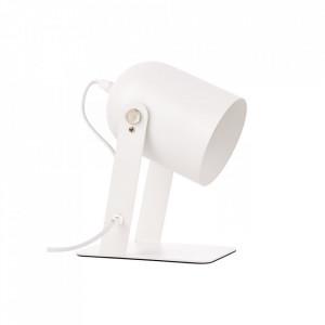 Lampa birou alba din metal 29 cm Yan Brilliant