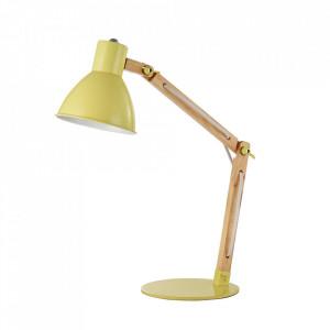 Lampa birou galbena din lemn si metal 50 cm Apex Maytoni
