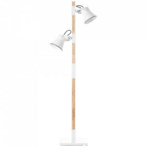 Lampadar alb/maro din metal si lemn cu 2 becuri 153 cm Plow Brilliant