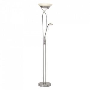 Lampadar argintiu/alb din sticla si metal cu 2 LED-uri 180 cm Ollie Brilliant