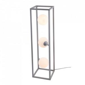 Lampadar gri/alb din metal si sticla cu 3 becuri 93 cm Cube Floor Grey Aldex