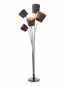 Lampadar negru/auriu din metal si textil cu 5 becuri 178 cm Levels Floor Invicta Interior
