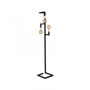 Lampadar negru din metal si lemn cu 3 becuri 165 cm Loco LABEL51