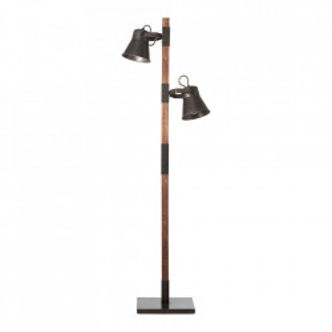 Lampadar negru/maro din metal si lemn cu 2 becuri 153,5 cm Plow Brilliant