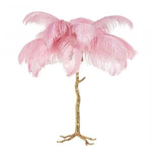 Lampadar roz/auriu din pene si cupru cu 3 becuri 80 cm Upanova Richmond Interiors
