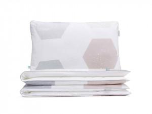 Lenjerie de pat alba din bumbac Hexagons Double Mumla (diverse dimensiuni)